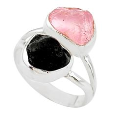 10.02cts natural black tourmaline rose quartz raw silver ring size 7 t21038