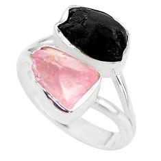 9.96cts natural black tourmaline rose quartz raw silver ring size 8 t21034