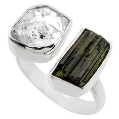 12.07cts natural black tourmaline rough 925 silver adjustable ring size 7 r29585