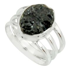 5.75cts natural black tourmaline rough 925 silver solitaire ring size 7.5 r22082