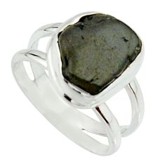 5.08cts natural black tourmaline rough 925 silver solitaire ring size 6.5 r22086