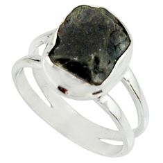 4.93cts natural black tourmaline rough 925 silver solitaire ring size 7.5 r22088