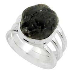 6.57cts natural black tourmaline rough 925 silver solitaire ring size 6.5 r22446