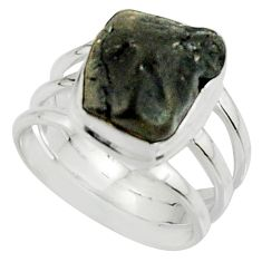 6.08cts natural black tourmaline rough 925 silver solitaire ring size 6.5 r22447