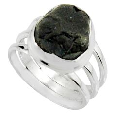 6.26cts natural black tourmaline rough 925 silver solitaire ring size 6.5 r22450