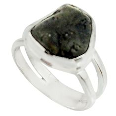 4.92cts natural black tourmaline rough 925 silver solitaire ring size 5 r22083