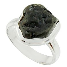 5.09cts natural black tourmaline rough 925 silver solitaire ring size 6 r22091