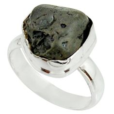 4.93cts natural black tourmaline rough 925 silver solitaire ring size 6 r22092