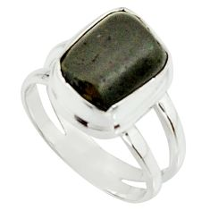 5.27cts natural black tourmaline rough 925 silver solitaire ring size 6 r22096