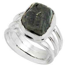 6.62cts natural black tourmaline rough 925 silver solitaire ring size 6 r22451