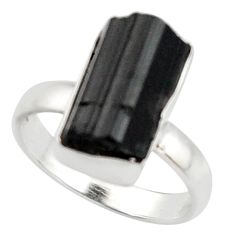 7.60cts natural black tourmaline rough 925 silver solitaire ring size 7 d46510