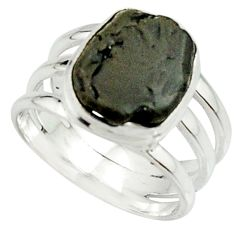 5.97cts natural black tourmaline rough 925 silver solitaire ring size 7 r22100