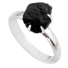 4.34cts natural black tourmaline raw 925 silver solitaire ring size 7 t21193