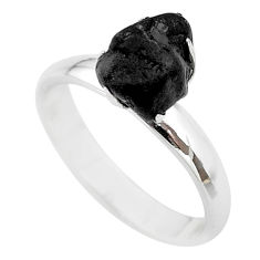 4.53cts natural black tourmaline raw 925 silver solitaire ring size 7 t21197