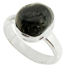 5.52cts natural black tourmaline rough 925 silver solitaire ring size 8 r22097