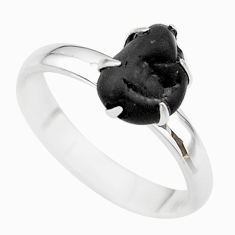4.29cts natural black tourmaline raw 925 silver solitaire ring size 8 t21194