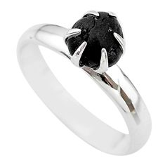 3.67cts natural black tourmaline raw 925 silver solitaire ring size 8 t21196