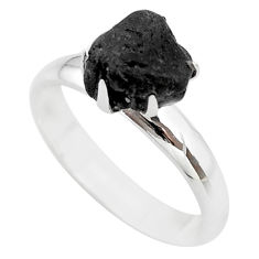 4.53cts natural black tourmaline raw 925 silver solitaire ring size 8 t21198