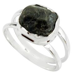 5.12cts natural black tourmaline rough 925 silver solitaire ring size 9 r22085