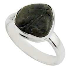 5.53cts natural black tourmaline rough 925 silver solitaire ring size 9 r22448