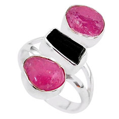 13.77cts natural black tourmaline raw ruby rough 925 silver ring size 7 t37690
