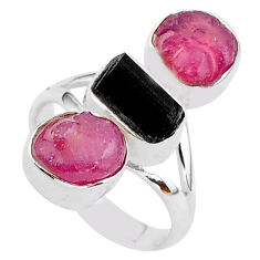 14.40cts natural black tourmaline raw ruby rough 925 silver ring size 7 t37691