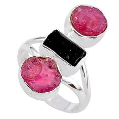 14.40cts natural black tourmaline raw ruby rough 925 silver ring size 7 t37694