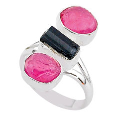 14.31cts natural black tourmaline raw ruby rough 925 silver ring size 8 t37700