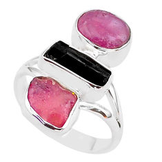 13.55cts natural black tourmaline raw ruby rough 925 silver ring size 8 t37733