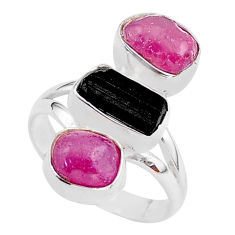 15.36cts natural black tourmaline raw ruby rough 925 silver ring size 8 t37739