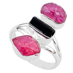 14.40cts natural black tourmaline raw ruby rough 925 silver ring size 9 t37697