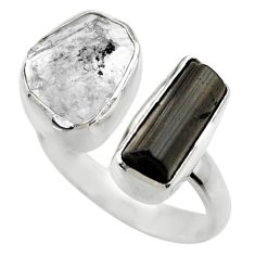 11.23cts natural black tourmaline rough silver adjustable ring size 7.5 r29592