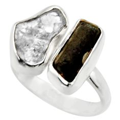 12.36cts natural black tourmaline rough silver adjustable ring size 8.5 r29598