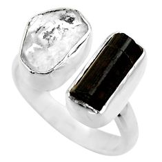 11.23cts natural black tourmaline rough silver adjustable ring size 7.5 r29599