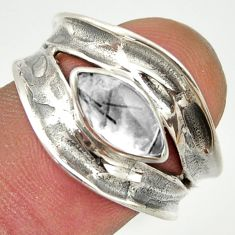2.58cts natural black tourmaline rutile 925 sterling silver ring size 8 r36992