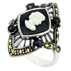 Natural blister pearl black onyx 925 sterling silver ring size 7.5 c18651