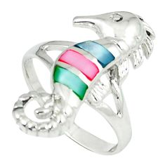 4.47gms natural blister pearl enamel 925 silver seahorse ring size 8 c12191
