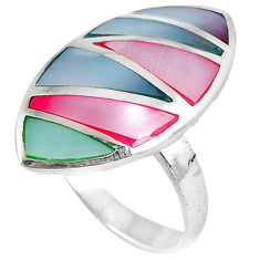 5.81gms natural blister pearl enamel 925 sterling silver ring size 6.5 c22729