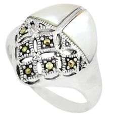 Natural blister pearl marcasite 925 sterling silver ring size 6.5 c16217