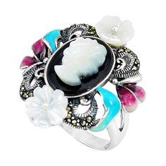 Natural blister pearl marcasite enamel 925 silver ring jewelry size 9 c21487