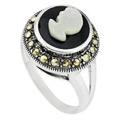 Natural blister pearl marcasite carved lady face 925 silver ring size 2 c16363