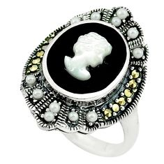 Natural blister pearl onyx 925 sterling silver ring jewelry size 7 c16376