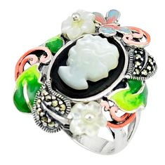 Natural blister pearl onyx enamel 925 sterling silver ring size 6.5 c18575