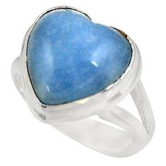 8.54cts natural blue angelite 925 silver solitaire ring jewelry size 6.5 d39073
