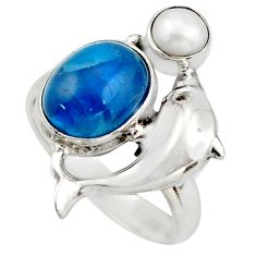 5.63cts natural blue apatite (madagascar) 925 silver dolphin ring size 7 d46002