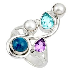 Clearance Sale- 5.42cts natural blue apatite (madagascar) amethyst 925 silver ring size 6 d39107