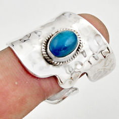 2.28cts natural blue apatite (madagascar) silver adjustable ring size 8 r21232