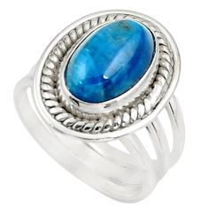 Clearance Sale- 4.52cts natural blue apatite (madagascar) silver solitaire ring size 6 d39068