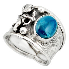 4.47cts natural blue apatite 925 silver angel solitaire ring size 7.5 d45910