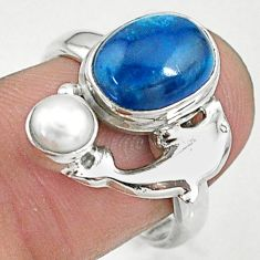 5.28cts natural blue apatite pearl 925 silver dolphin ring size 7.5 t10481